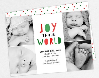 Holiday Birth Announcement, Christmas Birth Announcement, First Christmas, Joy To Our World, Baby Announcement, Printable