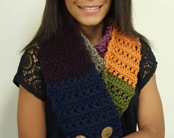Multi colored wool button scarf