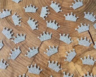 150 silver Crown Confetti pieces. Crown confetti, Table decoration
