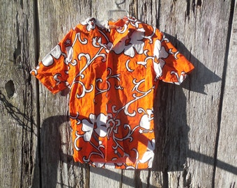 Vintage 60s vibrant orange mens hawaiian shirt by Royal Hawaiian altered to be more fitted medium  hipster indie street wear