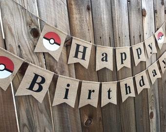 Pokemon birthday banner, pokemon, pokeball, banner, birthday