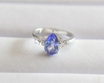 14K White Gold Ring 6x9mm Pear Tanzanite Ring Tanzanite Engagement Ring Tanzanite Wedding Ring Tanzanite Diamond Bridal Jewellry