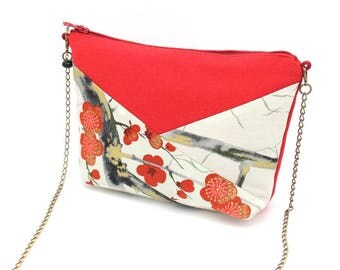 Small red shoulder bag enhanced with light grey cotton patterned with red flowers