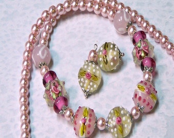 Pink Green Raspberry Lampwork Artisan necklace and earrings set, choose your fittings