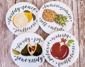 Fruit of the Spirit Cork Coasters, Pomegranate, Pineapple, Avocado, and Lemon Fruit Coasters, Christian Wedding Gifts, 602023