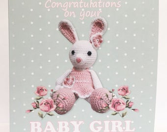Glitter Crochet Bunny New Baby Girl Card