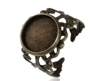 5 Adjustable cabochon 12mm ring settings, size 6 ring blanks, 0383, 772, 401a