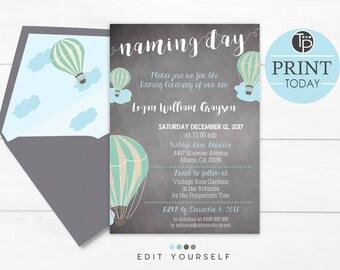 BOY NAMING DAY Invitations, Hot Air Balloon Naming Day Invitation, Instant Download, Naming invitations, Chalkboard Naming Day Invitation