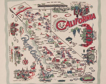 Vintage Style California Napkins Set of 6