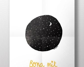 Ilustración decorativa 'Bona nit'. Impresión digital para decorar tu hogar. Habitación infantil. Paredes bonitas. Decoración paredes. Luna