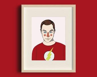 Ilustración 'Sheldon' impresión digital. Lámina de decoración. Ilustración. Hogar. Dibujo. Fan art. Geek. Big Bang Theory. anduluplandu