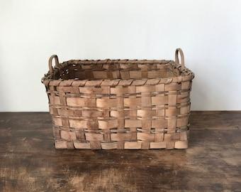 Indian Basket, Ash Splint With Lug Handles, American, Mid 19th Century