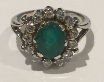Colombian Emerald & Diamond Ring. Vintage circa 1960's.