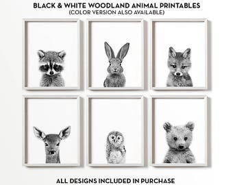 Woodland nursery decor, Black and white nursery art, PRINTABLE art, Baby animal prints, Woodland animals, Nursery wall art, Nursery prints