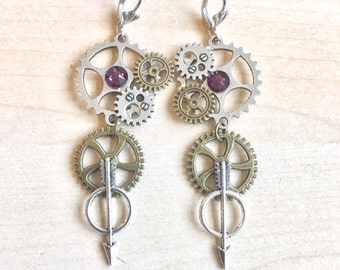 Steampunk with COGS, gears and purple crystal earrings