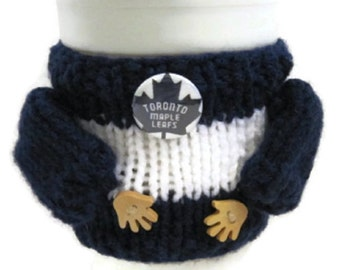 Coffee sweater, coffee cozy, whimsical, adorable wooden hands