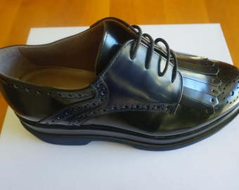 ROSSI Patent Leather Oxford Shoes - Black & Midnight Blue * Made in Italy *