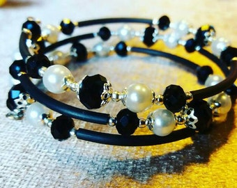 Black and white handmade memory wire wrap bracelet.