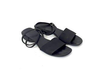 Vintage 90s Minimal Goth Black Strappy Stretchy Slip On Slingback Sandals Size 7 1/2