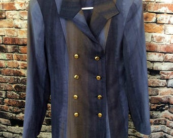 Vintage Bianco Couture Size 9 Lined 100% Wool Coat Watercolor