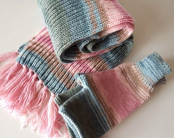 Knitted set mittens and scarf, fingerless gloves, blue-pink mittens, blue-pink scarf, many-colored mittens, hand warmers, spring set