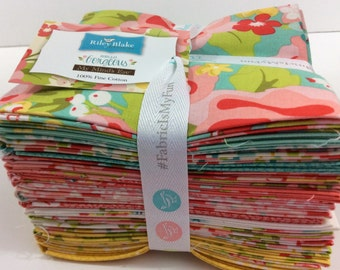 "Riley Blake--""Hello Gorgeous""-Fat Quarter Bundle, by My Minds Eye- 18 different fat quarters, vintage fabric,  stripe fabric, floral fabric"