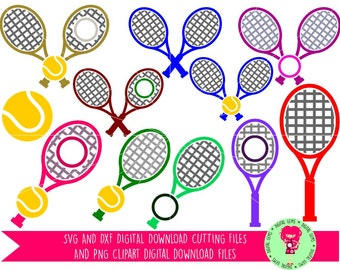 Tennis Racket and Ball SVG / DXF Cutting Files For Cricut Explore / Silhouette Cameo & PNG Clipart, Digital Download, Commercial Use Ok