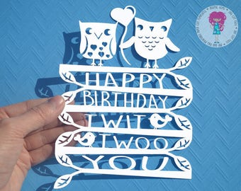 Owl Happy Birthday paper cut svg / dxf / eps / files and pdf / png printable templates for hand cutting. Digital download. Commercial use ok