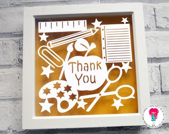Thank you teacher paper cut svg / dxf / eps / files and pdf / png printable templates for hand cutting. Digital download. Commercial use ok.