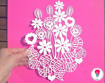 Flower bouquet paper cut svg / dxf / eps / files, and pdf / png printable templates for hand cutting. Digital Download. Commercial use ok.