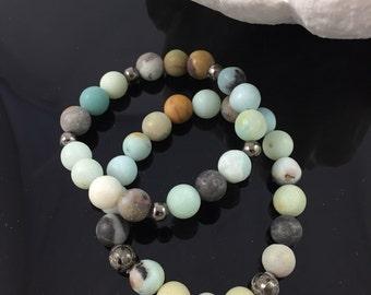 Amazonite Clover Bracelet Set of 2