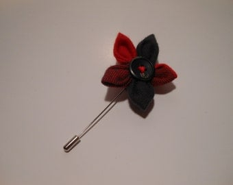 Red Buffalo Plaid Tweed Flower Lapel Pin