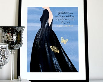 Whatever our souls are made of Wuthering Heights quote, Emily Bronte quote, Wuthering Heights print, Catherine on the moors illustration