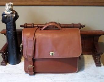 Coach Compact Organizer Brief In British Tan Leather With Detachable Crossbody Strap - Style No 544-VGC