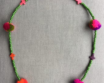Textile necklace in the sparkling colors. Bohemian jewel full of energy for the summer. Hand-made.