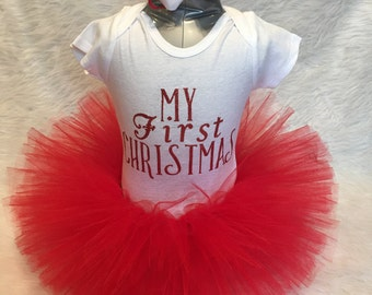 Handmade my first 1st Christmas red tutu outfit baby girl