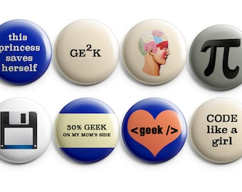 8 Geek buttons - Set of 8 - - student gift, stocking stuffers, geek girl, pi, code like a girl, gift for her