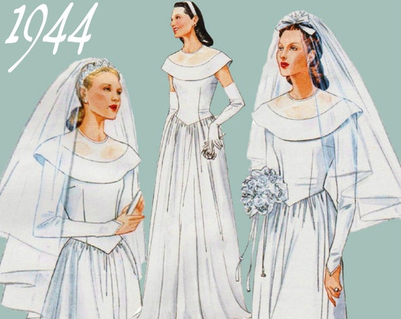 1940s Wedding Dress Pattern VOGUE 2384 Sz 12 16 B 34 38 UNCUT Vintage Gown Fit And Flare Long Sleeve From ThePerfectPattern On