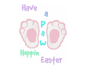 Sale - Hoppy Easter Embroidery Design - Paw Hoppy Embroidery Design - Paw Embroidery Design - Easter Embroidery Design - Baby Easter