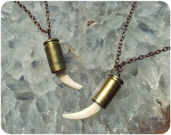 Bullet tooth necklace ~ Real red fox canine fang tooth necklace on brass bullet casing with copper chain