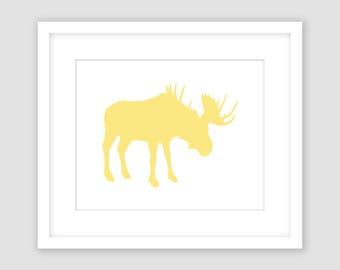 Horizontal Buttercup Yellow Moose Silhouette on White Print, Animal Wall Art, Modern Art, Instant Download, DIY, Printable