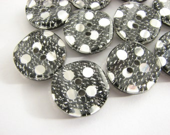 Black glitter buttons, 10 dark grey and silver buttons, 19mm, unused vintage buttons!