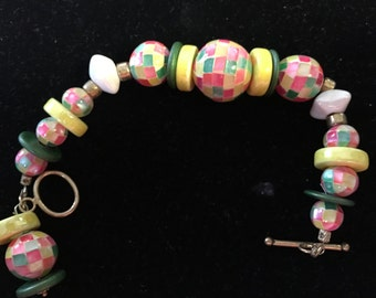 Moasic mother of pearl beads look like tropical fruit colors