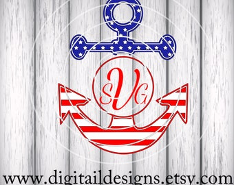Patriotic Anchor Monogram Frame SVG - png - dxf - eps - ai - fcm - Beach Monogram SVG - Summer Monogram Frame - Anchor Monogram - Anchor SVG