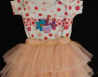 1st Birthday outfit-3pc Birthday-First Birthday tutu--Pink tutu-12-18mos-Free Headband-Cake Smash-Birthday Photo Prop