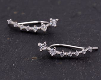 Sterling Silver Ear Crawler Earrings with Sparkly CZ Crystals Y7