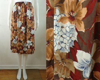 "70s floral skirt size small/medium, 27-30"" waist, brown flower print a-line lightweight rayon skirt, elastic waist"