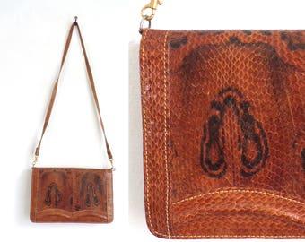70s brown leather snake print bag, crossbody bag, envelope bag, leather handbag, 1970s cross body bag, leather purse