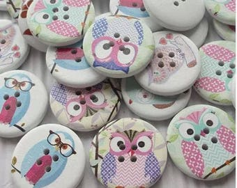 Owl buttons 30mm wood, 4 hole x 10
