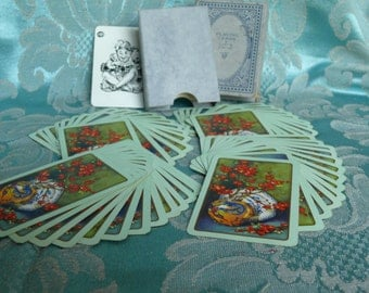 Vintage English Linen Playing Cards. Gilt Edged and Beautifully Decorated. Full Set with Joker and Boxed.